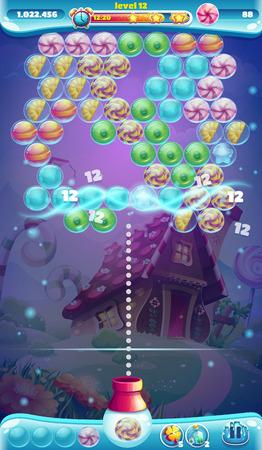 jeu: monde doux jeu mobile GUI fenêtre bubble shooter Illustration