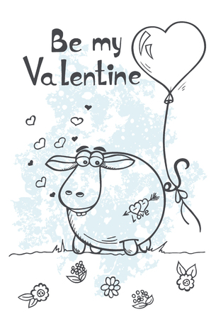 nostrils: Stock Vector greeting card with sheep and balloons on Valentines Day Illustration