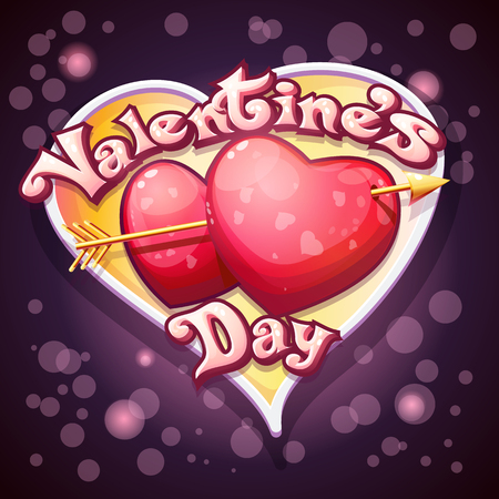 pierced: festive bright colorful vtctor illustration of a Happy Valentines Day. Pierced hearts on a purple background