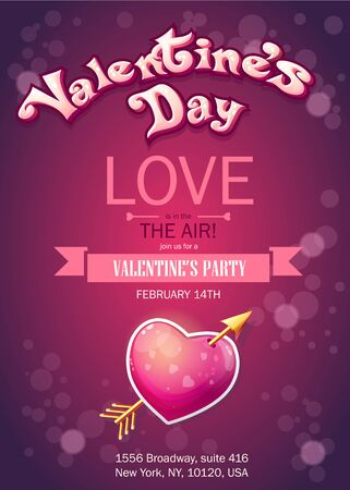 hearts background: Invitation card to a party on Valentines Day. Vector illustration