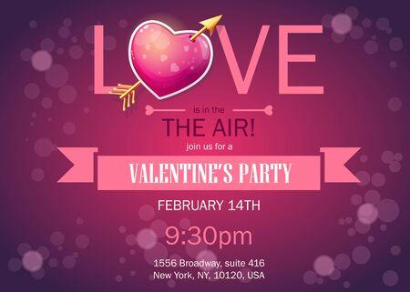 illustration invitation: Invitation card to a party on Valentines Day. Vector illustration