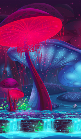 neon plant: Magic Mushroom Hollow - mystical vertical vector background  for game design