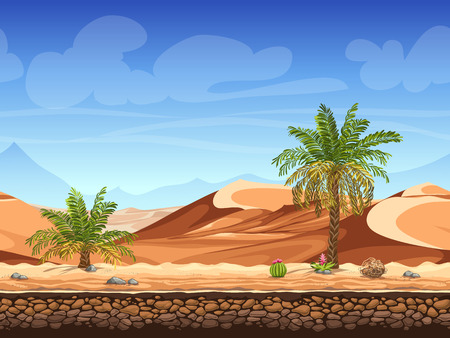 Vector illustration - seamless background - palm trees in desert - for game design