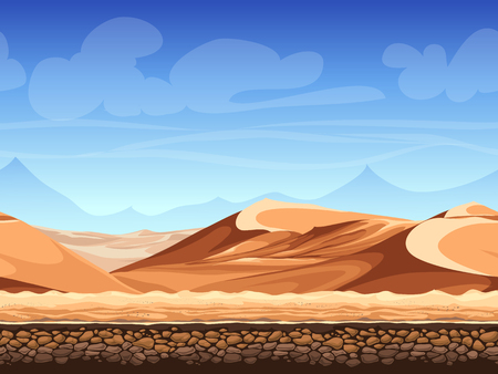 sand dunes: Vector illustration - seamless background - desert - for game design Illustration