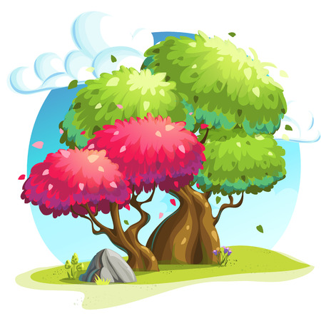 cartoon land: Vector illustration colorful trees under the clouds Illustration