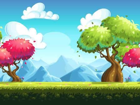 Naadloze achtergrond kleurrijke bomen in het bos tegen de achtergrond van de bergen