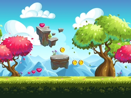 montagna: Sfondo trasparente volare rocce e alberi colorati nella foresta sullo sfondo delle montagne