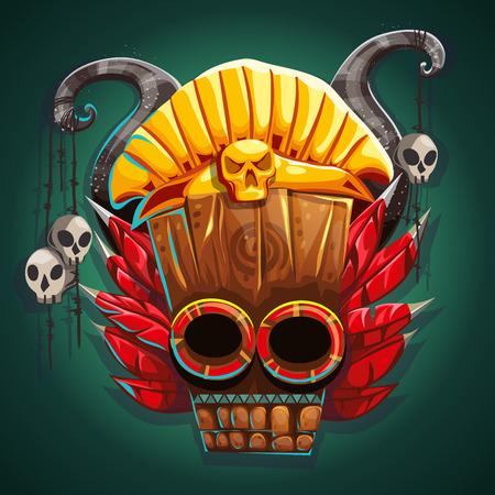 cultura maya: máscara de estilo americano indio nativo. adornos azteca. Antigua tribu religiosa máscara Ilustración.