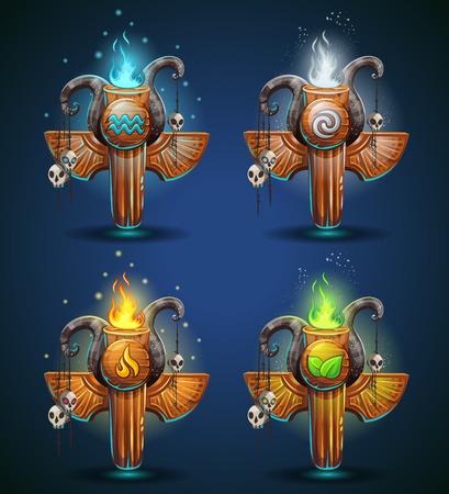 mago: Conjunto t�tems Shaman - s�mbolos de los cuatro elementos. Los personajes del clan, la tribu, el estilo de ilustraci�n vectorial de dibujos animados. Para crear juegos de video y web.