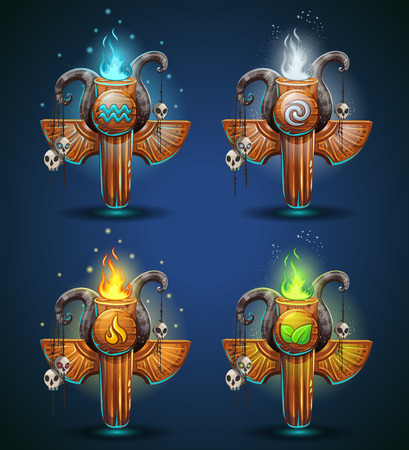 game: Set shaman totems - symbols of the four elements. The characters of the clan, tribe, vector illustration cartoon style. To create video games and web.