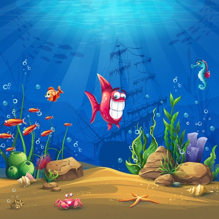undersea: Undersea world with fish. Marine Life Landscape - the ocean and the underwater world with different inhabitants. For design websites and mobile phones, printing. Illustration