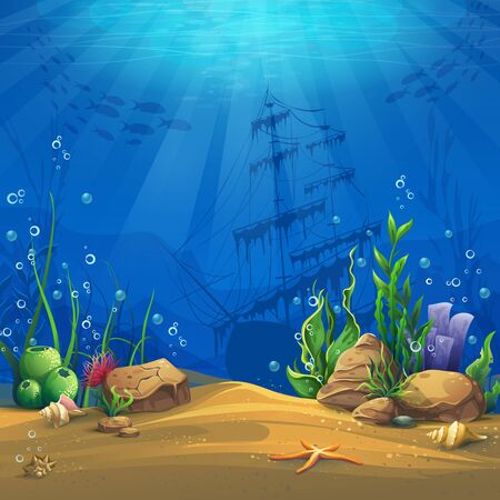 at the bottom of: Undersea world. Marine Life Landscape - the ocean and the underwater world with different inhabitants. For design websites and mobile phones, printing.