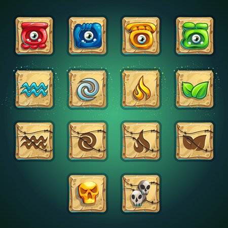 Cartoon style booster buttons set vector elements for computers game interface and web design