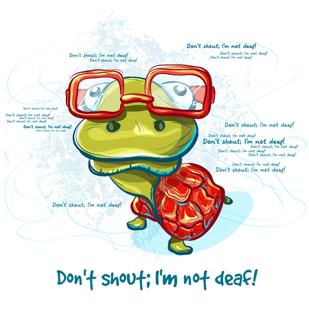 nostrils: Cartoon smiling green turtle character. illustration vector turtle - emotional postcard Illustration