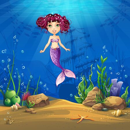 ocean fish: Undersea world with brunette mermaid. Marine Life Landscape - the ocean and the underwater world with different inhabitants. For design websites and mobile phones, printing. Illustration