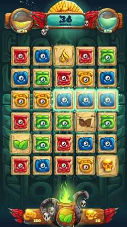 cultura maya: chamanes de la selva campo de juego GUI ilustraci�n vector ventana Vectores