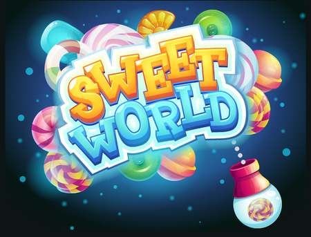 cartoon clock: Sweet world GUI game window candy shooter vector illustration
