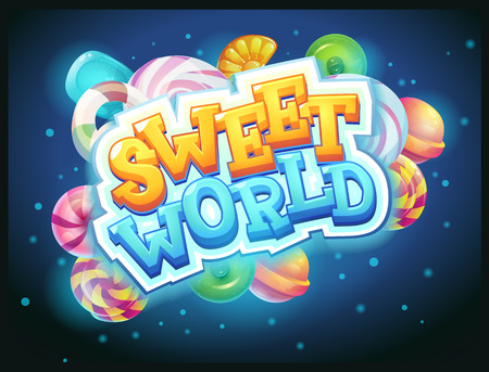 flower designs: Sweet world GUI game window vector illustration