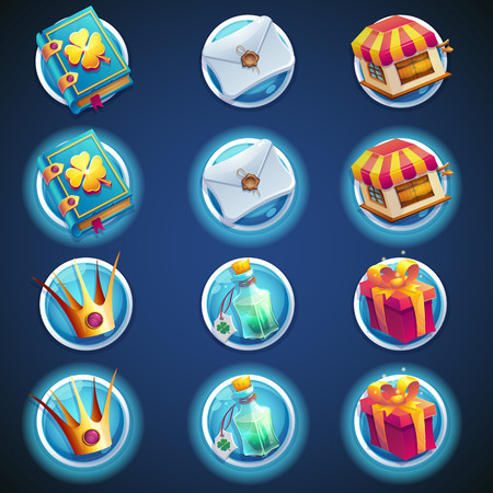 video icons: button set of icons for web video games