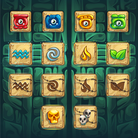Jungle shamans GUI booster buttons set vector elements on creative background for computers game interface and web design