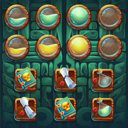 brandweer cartoon: Jungle sjamanen GUI pictogrammen knoppen set vector elementen voor computers game-interface en web design