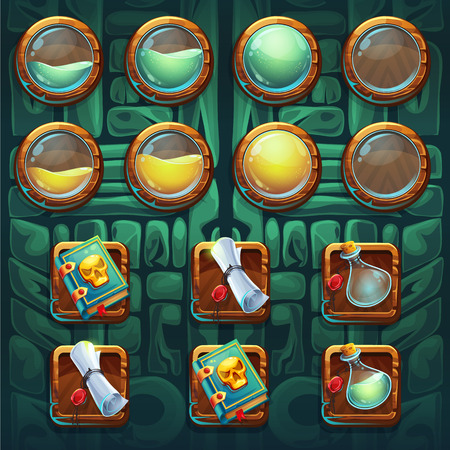 Jungle shamans GUI icons buttons kit vector elements for computers game interface and web design Illustration