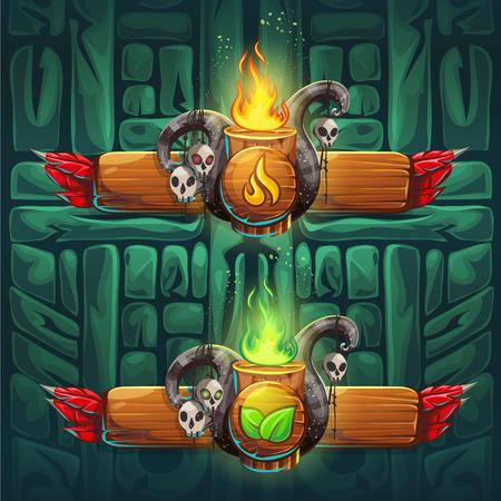 Impulsores establecidos Shaman - símbolos de los cuatro elementos. Los personajes del clan, la tribu, el estilo de ilustración vectorial de dibujos animados. Para crear juegos de video y web.