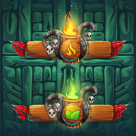 Set shaman boosters - symbols of the four elements. The characters of the clan, tribe, vector illustration cartoon style. To create video games and web.