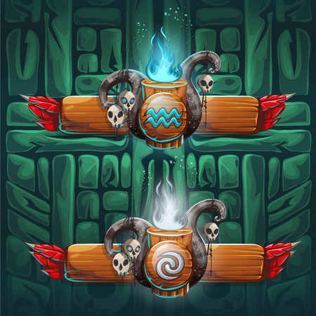 exorcist: Set shaman boosters - symbols of the four elements. The characters of the clan, tribe, vector illustration cartoon style. To create video games and web.