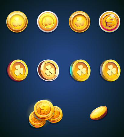 Set of cartoon coins for web, game or application interface. Modern vector illustration game art