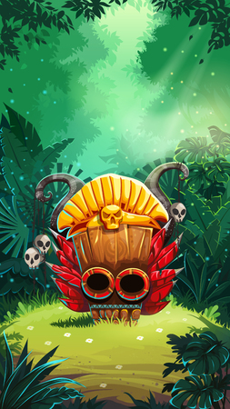 Jungle shamans mobile game user interface main window screen. illustration for web mobile video game.