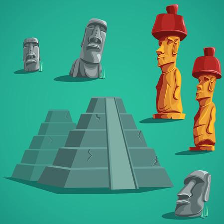 moai: aislado Vector de elementos de piedras, estatuas, pirámides. Para la interfaz de usuario móvil juego, boletines de noticias, folletos, anuncios, tarjetas de visita, tarjetas de felicitación, catálogos, informes. Vectores