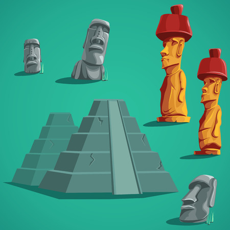 moai: illustration set isolated elements of stones, statues, pyramids.  For mobile game user interface, newsletters, brochures, ads, business cards, greeting cards, catalogs, reports.
