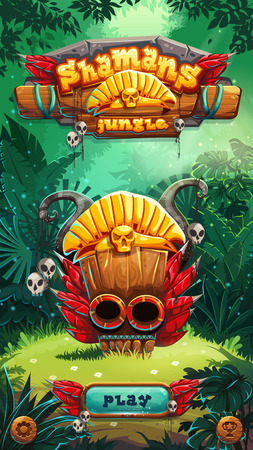 web screen: Jungle shamans mobile game user interface play window screen. Vector illustration for web mobile video game.