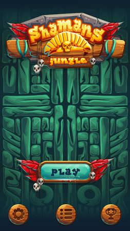 fire wire: Jungle shamans mobile game user interface play window screen. Vector illustration for web mobile video game.