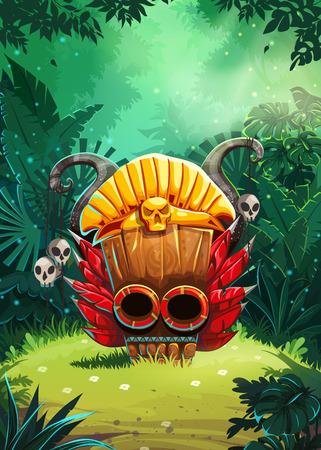 calavera caricatura: chamanes de la selva pantalla del móvil ventana de la interfaz de usuario del juego. Ilustración del vector para el juego de video móvil web.
