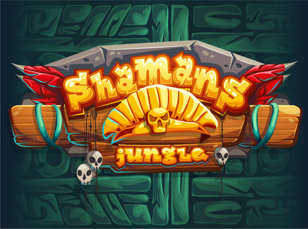 interface: Jungle shamans game user interface main window screen. Vector illustration for web mobile video game. Illustration
