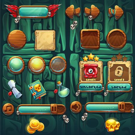 calavera caricatura: chamanes de la selva GUI iconos de los botones establecen vector elementos de interfaz de equipos de juegos y diseño web