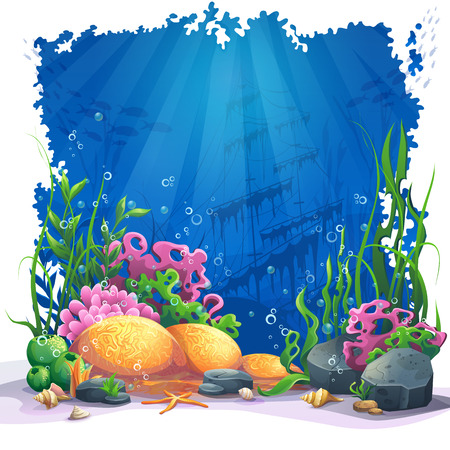 beautiful landscape: Beautiful coral and colorful reefs and algae on sand. Vector illustration of sea landscape.