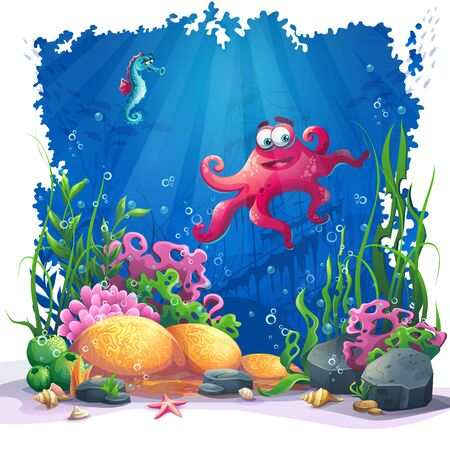 algae: Beautiful octopus, coral and colorful reefs and algae on sand. Vector illustration of sea landscape.