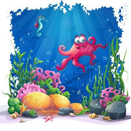 tiefe: Schöne Krake, Korallen und bunte Riffe und Algen auf Sand. Vektor-Illustration von Meer Landschaft. Illustration