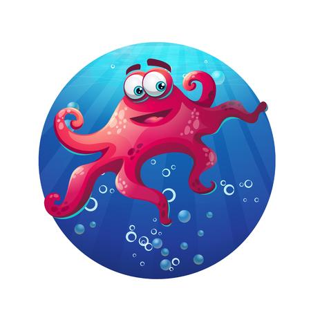 vector illustration: Underwater cartoon comic octopus in ocean. Vector illustration. Illustration