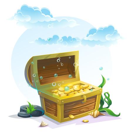 isla del tesoro: Cofre de oro en la arena bajo las nubes de color azul - ilustración vectorial para el diseño, banners, texturas, fondos, tarjetas postales