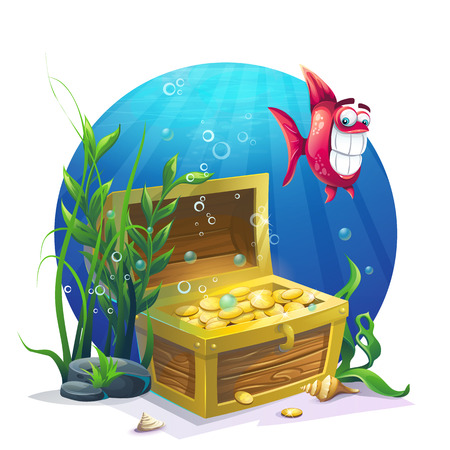 golden fish: Chest of gold and fish in the sand underwater - vector illustration for design, banners, textures, backgrounds, postcards