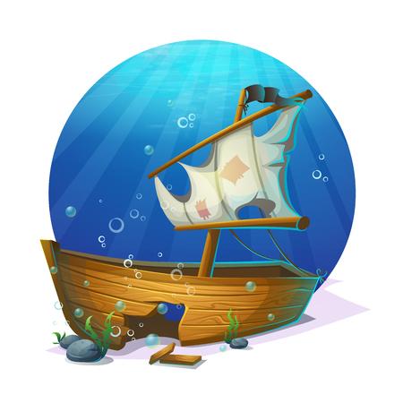 shipwreck: Undersea world. Old pirate ship shipwreck on sandy bottom of ocean. For design websites and mobile phones, printing. Illustration