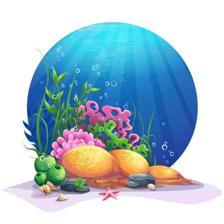 oceanic: Oceanic world. Marine flora on the sandy bottom of the ocean. For design websites and mobile phones, printing. Illustration