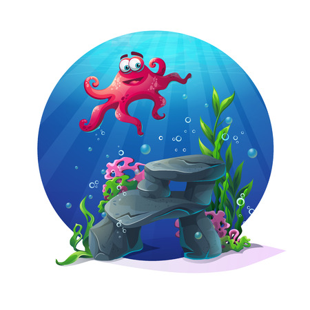 reefs: octopus on rocks, coral and colorful reefs underwater. illustration of sea landscape. For web design, print, cards, video games, posters, magazines, newspapers.