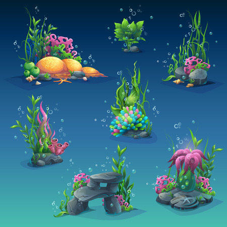 Set of underwater objects. Seaweeds, bubbles, stones. For web design, print, cards, video games, posters, magazines, newspapers. Stock Illustratie