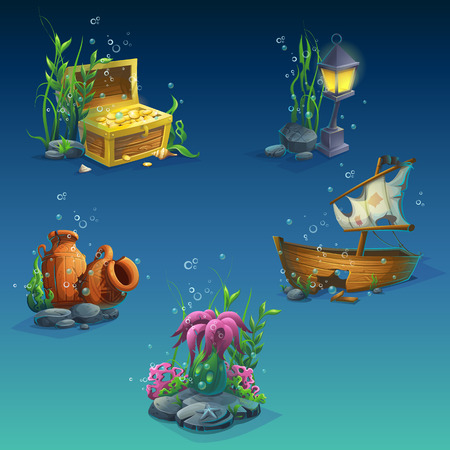 sunken: Set of underwater objects. Seaweeds, bubbles, a chest of coins, wealth, old broken amphora, stones, sunken boat, lantern. For web design, print, cards, video games, posters, magazines, newspapers.