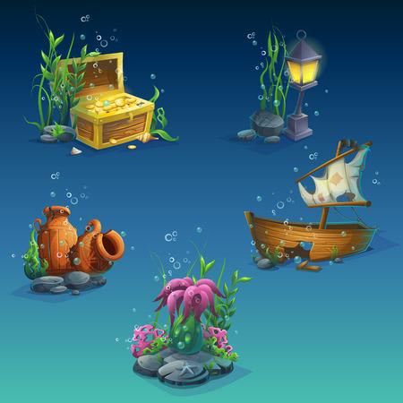 Set van objecten onder water. Zeewier, bellen, een kist met munten, rijkdom, oude gebroken amfora, stenen, gezonken boot, lantaarn. Voor web design, print, kaarten, video games, posters, tijdschriften, kranten.